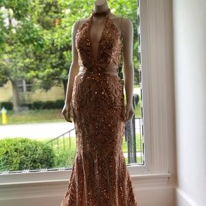 Rachel Allan 6179 Rosegold Sz 6 Prom Dress